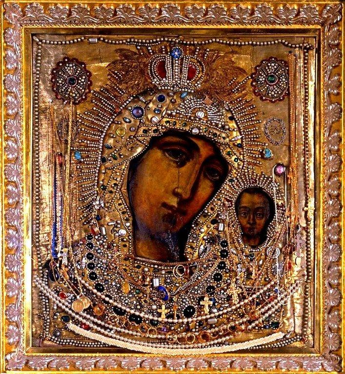 Чудотворный Петербургский список с Казанской иконы Божией Матери.