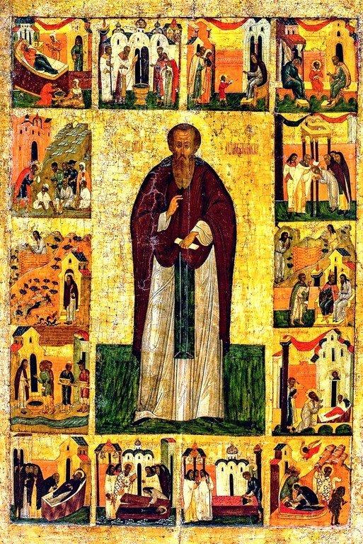 Святой Преподобный Варлаам Хутынский, с житием. Икона. Россия, середина XVI века.