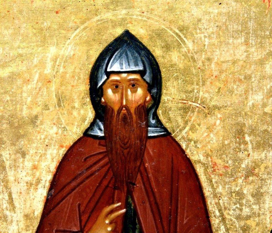 Святой Преподобный Варлаам Хутынский. Фрагмент новгородской иконы конца XV века.
