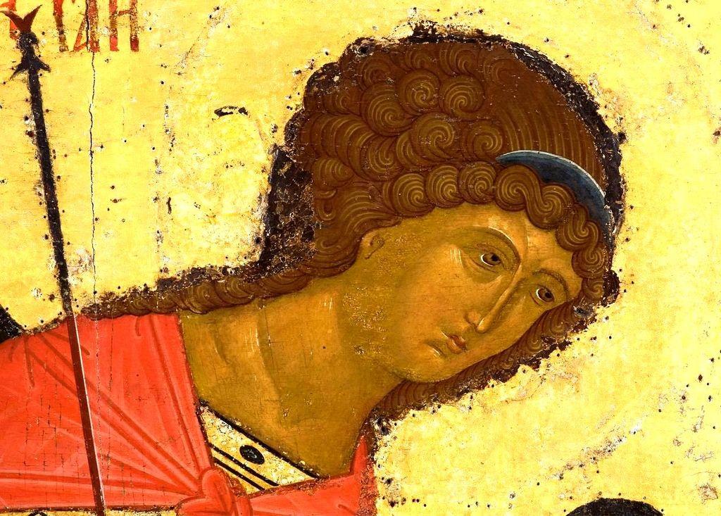Архангел Михаил. Икона из Кирилло-Белозерского монастыря. Около 1497 года. Лик.