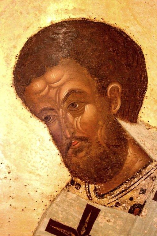 Святитель Иоанн Златоуст. Икона из Кирилло-Белозерского монастыря. Около 1497 года. Лик.
