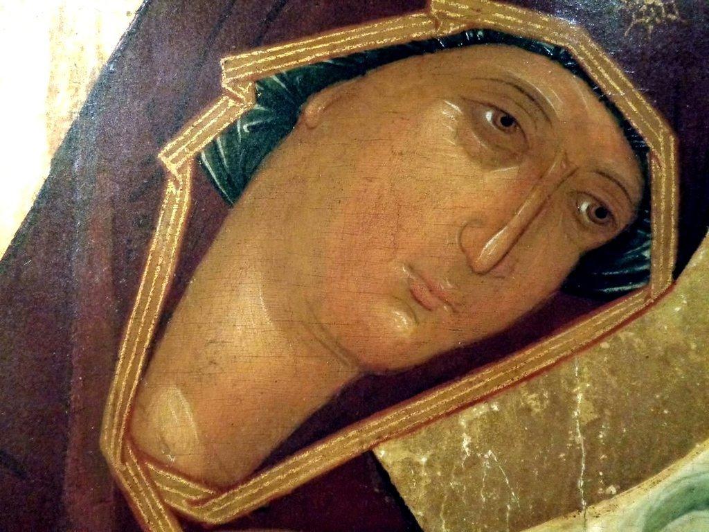 """Пресвятая Богородица. Икона из """"облачного"""" деисусного чина. Москва, XV век. Лик."""