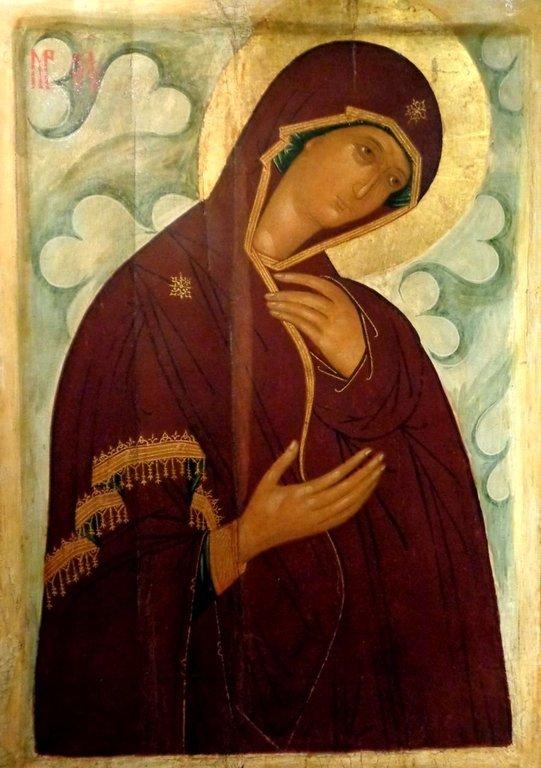 """Пресвятая Богородица. Икона из """"облачного"""" деисусного чина. Москва, XV век."""