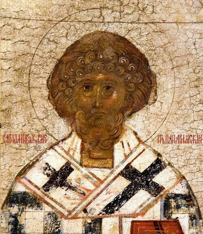 Священномученик Климент, Папа Римский. Фрагмент русской иконы XVI - XVII веков.