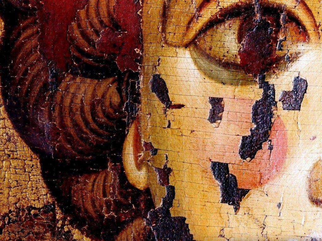 Святой Великомученик Георгий Победоносец. Икона. Русь, около 1170 года. Успенский собор Московского Кремля. Фрагмент.