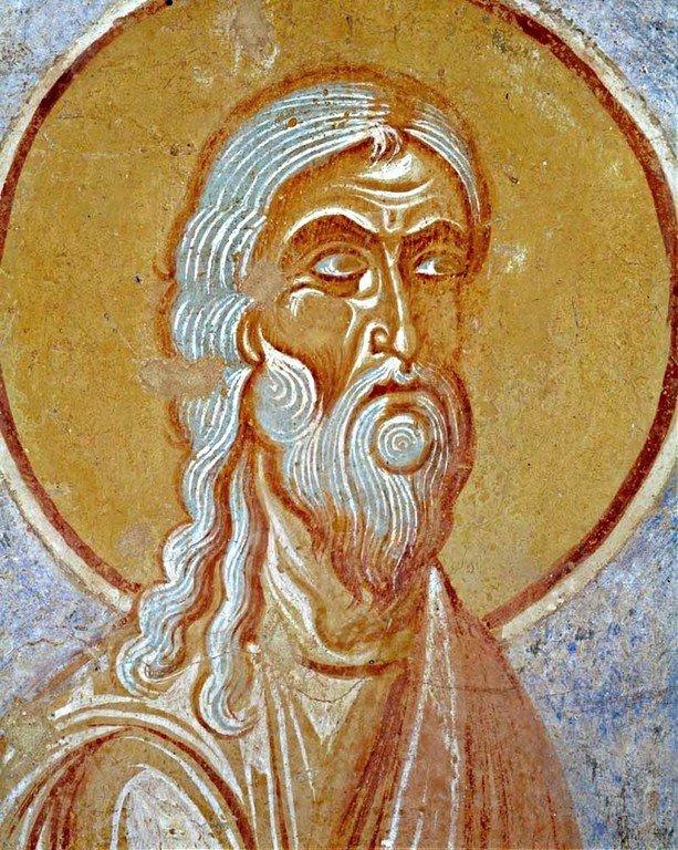 Святой Пророк Наум. Фреска церкви Святого Георгия в Старой Ладоге. Последняя четверть XII века.