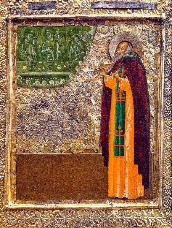 Святой Преподобный Антоний Сийский. Русская икона начала XVII века.