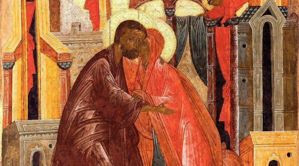 Зачатие Праведною Анною Пресвятой Богородицы. Икона. Псков, XVI век. Фрагмент.