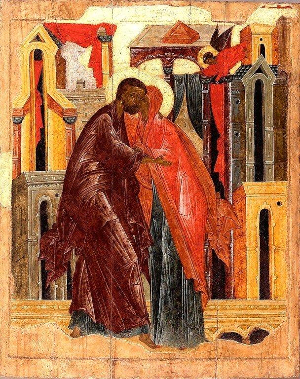 Зачатие Праведною Анною Пресвятой Богородицы. Икона. Псков, XVI век.
