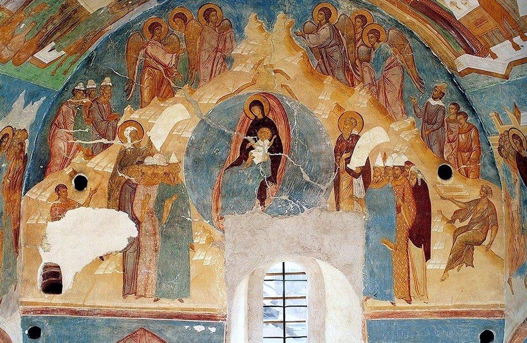 Собор Пресвятой Богородицы. Фреска Дионисия в соборе Рождества Пресвятой Богородицы Ферапонтова монастыря. 1502 год.