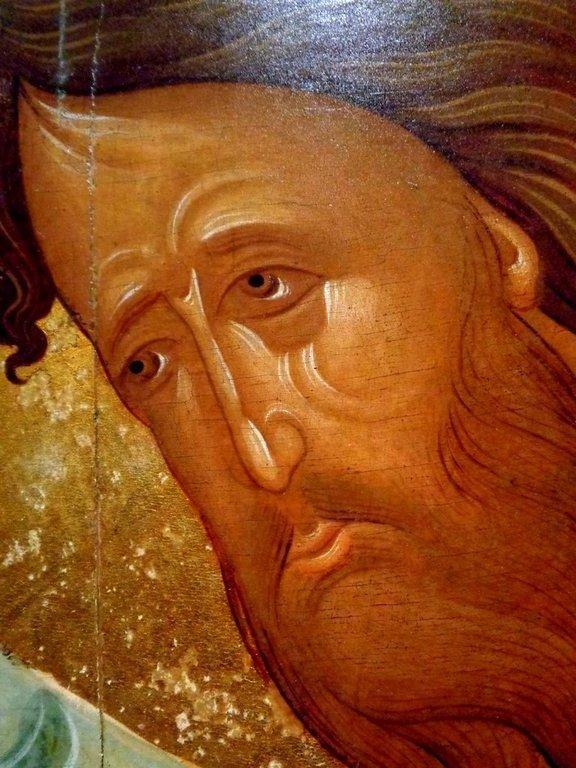 """Святой Иоанн Предтеча. Икона из """"облачного"""" деисусного чина. Москва, XV век. Фрагмент."""