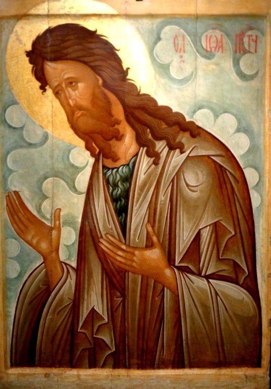 "Святой Иоанн Предтеча. Икона из ""облачного"" деисусного чина. Москва, XV век."