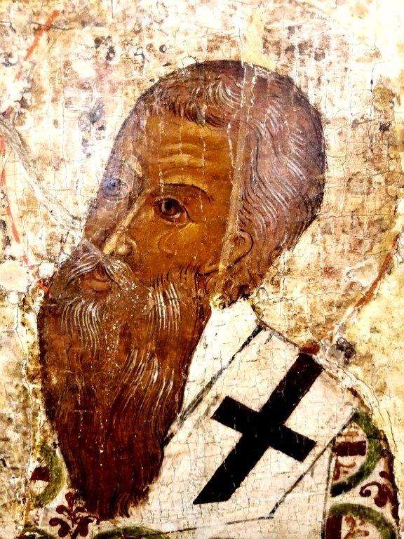Святитель Савва, первый Архиепископ Сербский. Фрагмент иконы псковской школы XVI века.