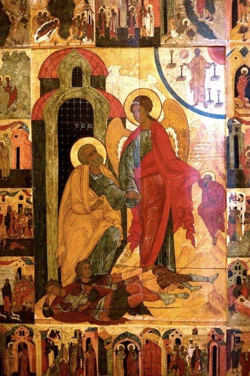 Ангел Господень изводит Святого Апостола Петра из темницы. Икона. Новгород, XVI век.