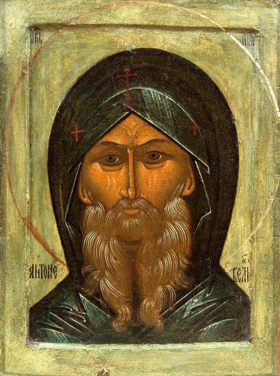 Святой Преподобный Антоний Великий. Икона. Новгород, XVI век.