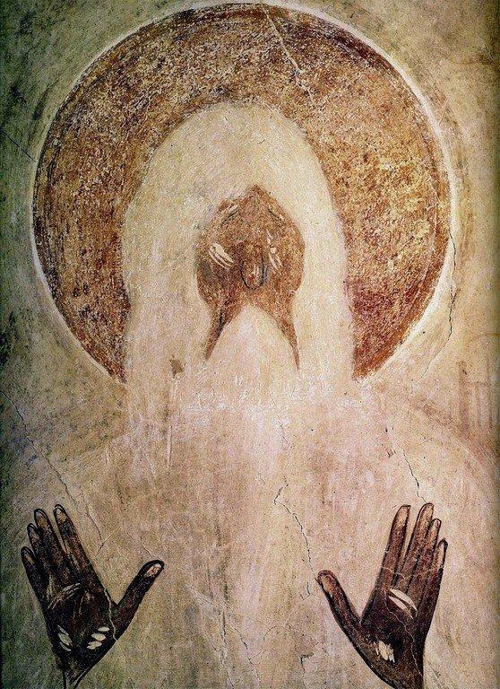 Святой Преподобный Макарий Великий. Фреска Феофана Грека в церкви Спаса Преображения на Ильине улице в Новгороде. 1378 год.