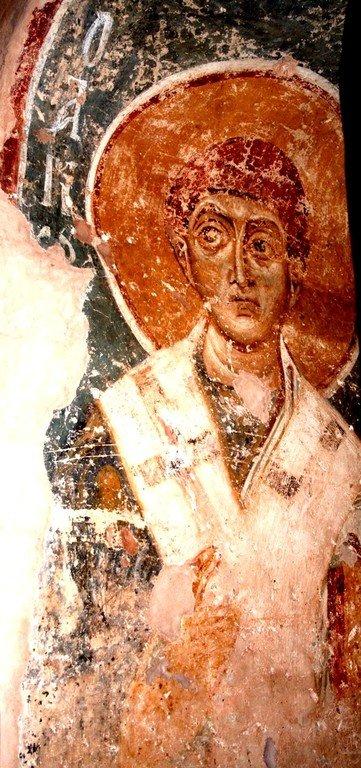 Святой Апостол от Семидесяти Тимофей. Фреска церкви Спаса на Нередице близ Новгорода. 1199 год.