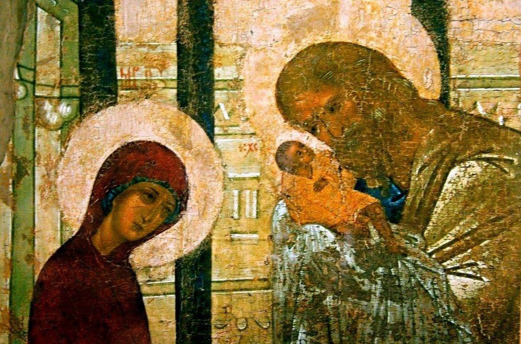 Сретение Господне. Иконописец Преподобный Андрей Рублёв. 1408 год. Фрагмент.