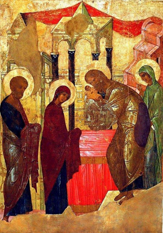 Сретение Господне. Иконописец Преподобный Андрей Рублёв. 1408 год.
