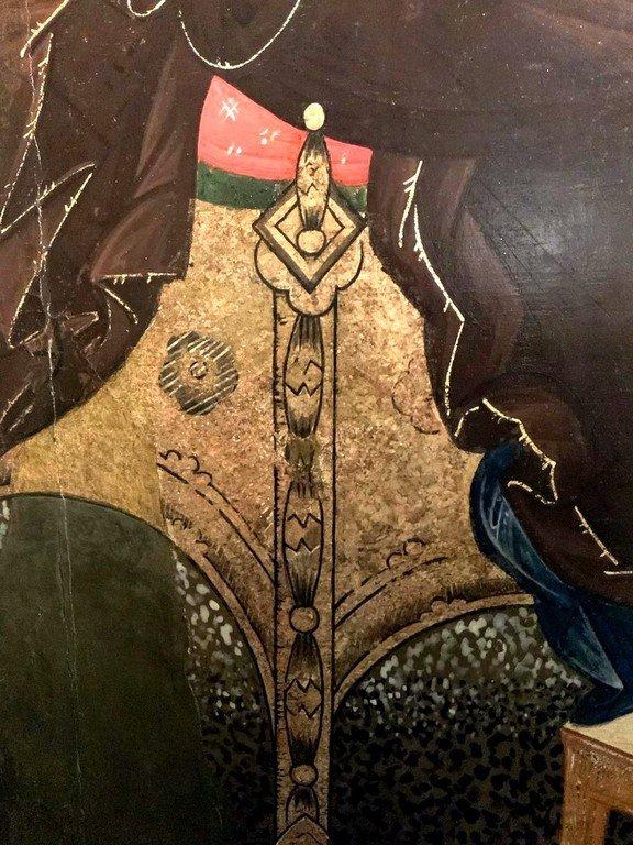 """Икона Божией Матери """"Гора Нерукосечная"""". Строгановская школа иконописи, конец XVI века. Фрагмент."""