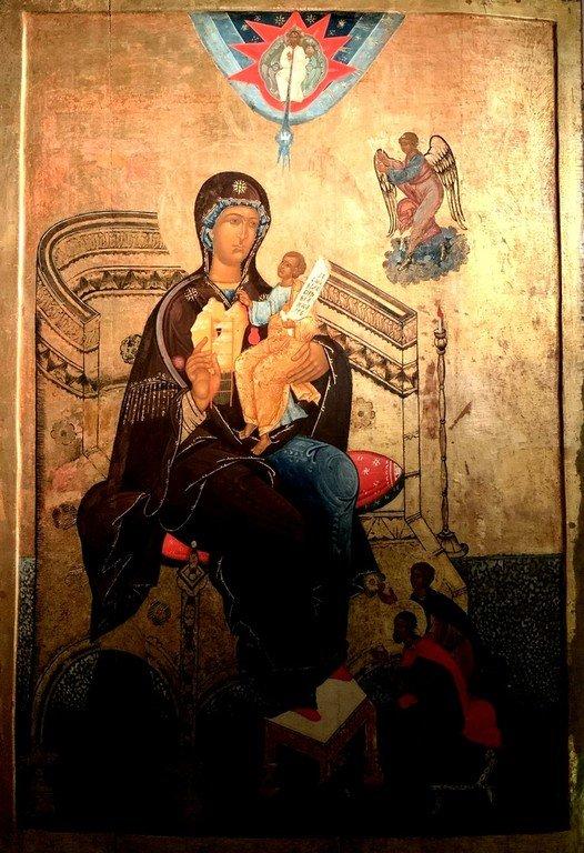 """Икона Божией Матери """"Гора Нерукосечная"""". Строгановская школа иконописи, конец XVI века."""