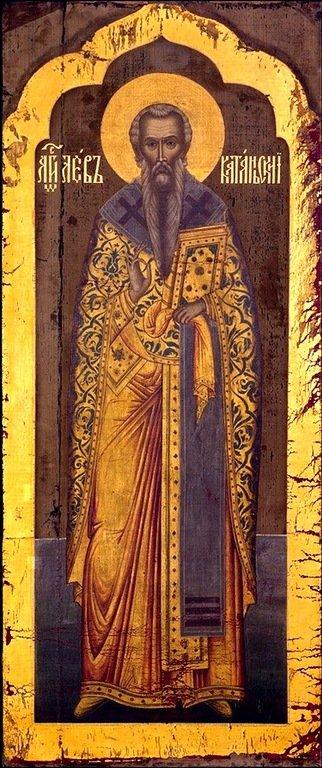 Святой Преподобный Лев, Епископ Катанский. Икона. Россия, начало 1670-х годов.