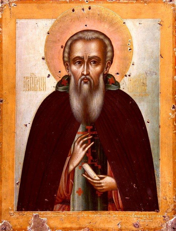 Святой Преподобный Василий Декаполит, Исповедник. Иконописец Симон Ушаков. 1664 год.