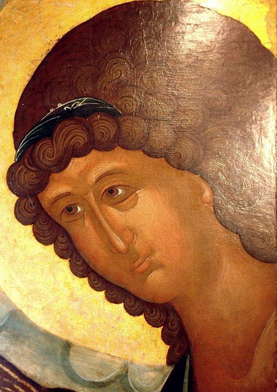 """Архангел Гавриил. Икона из """"облачного"""" деисусного чина. Москва, XV век. Лик."""