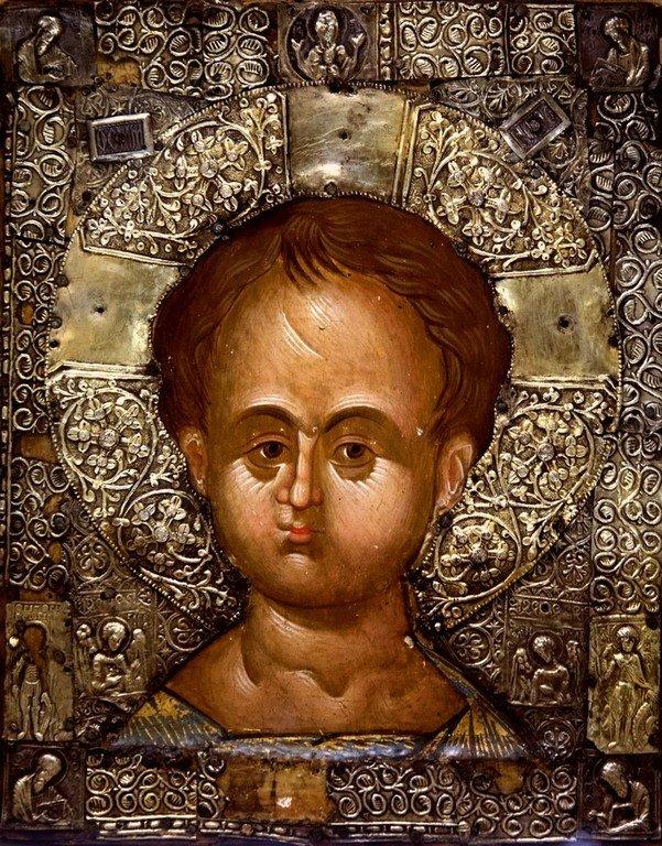 Христос Эммануил. Русская икона в монастыре Великий Метеор в Метеорах, Греция.