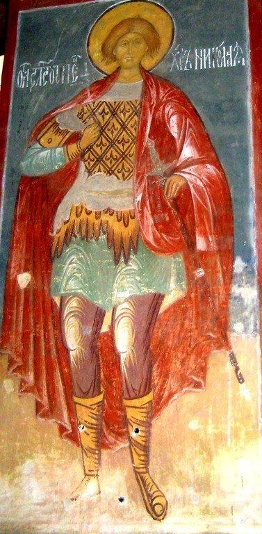 Святой Мученик Николай Новый. Фреска Успенского собора в Свияжске. XVI век.