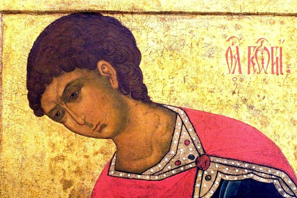 Святой Великомученик Георгий Победоносец. Фрагмент старинной русской иконы.