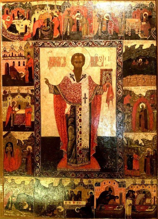 Святитель Стефан, Епископ Великопермский, с житием. Икона строгановской школы конца XVI века.