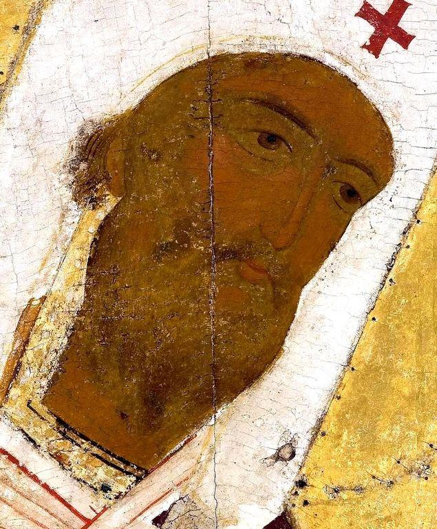 Святитель Леонтий, Епископ Ростовский. Икона из деисусного ряда иконостаса Успенского собора Кирилло-Белозерского монастыря. Около 1497 года. Фрагмент.