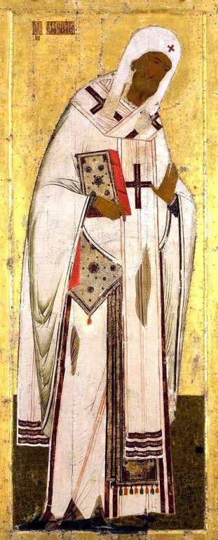 Святитель Леонтий, Епископ Ростовский. Икона из деисусного ряда иконостаса Успенского собора Кирилло-Белозерского монастыря. Около 1497 года.
