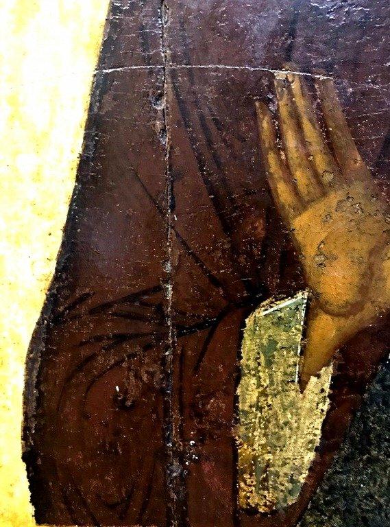 Святой Преподобный Никита Столпник, Переяславльский, Чудотворец. Русская икона XVI (?) века. Фрагмент.