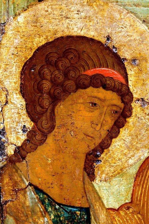 Пресвятая Троица. Икона. Москва, XVI век. Фрагмент.