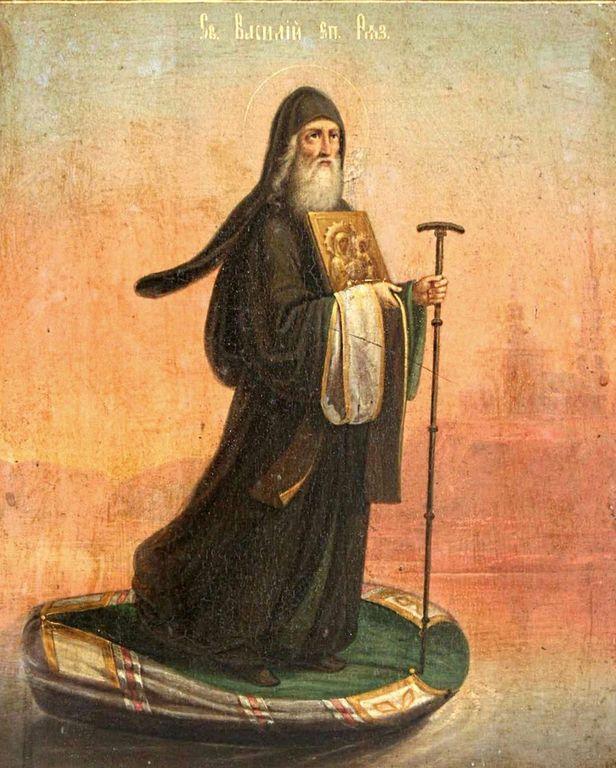 Святитель Василий, Епископ Рязанский. Русская икона XIX века.