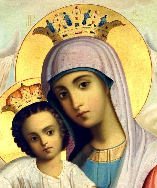 """Икона Божией Матери """"Достойно есть"""". Написана в Русском на Афоне Свято-Пантелеимоновом монастыре в XIX веке. Фрагмент."""