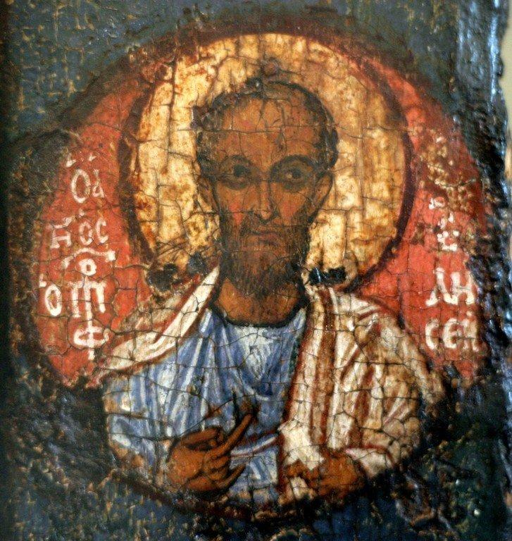 Святой Пророк Елисей. Образ на полях Белозерской иконы Божией Матери. Начало XIII века.