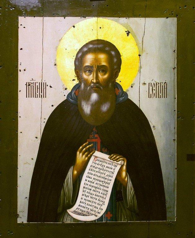 Святой Преподобный Сергий, Игумен Радонежский, Чудотворец. Иконописец Симон Ушаков. 1669 год.