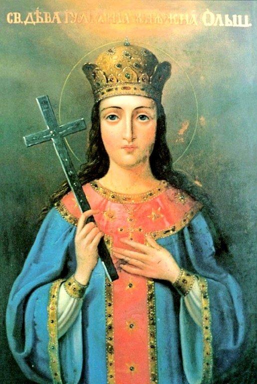 Святая Праведная дева Иулиания, княжна Ольшанская. Икона XIX века у раки с мощами Святой.