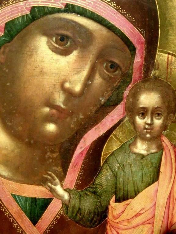 Казанская икона Божией Матери. Иконописец Симон Ушаков. 1658 год. Фрагмент.