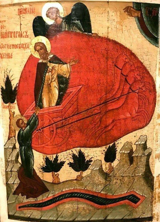 Огненное восхождение Святого Пророка Божия Илии. Икона. Новгород, 1470-е годы.