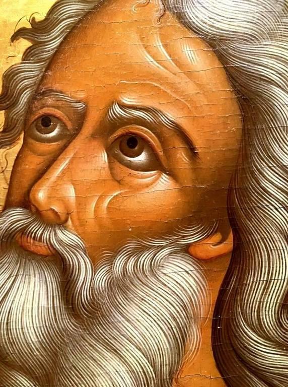Святой Пророк Божий Илия в пустыне. Русская икона. Фрагмент.