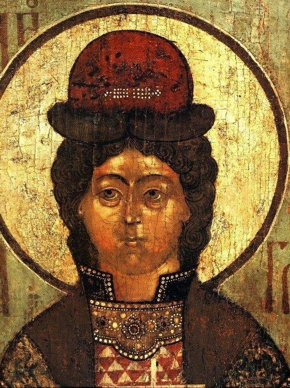 Святой Благоверный Князь Глеб. Фрагмент иконы. Россия, 1675 год.