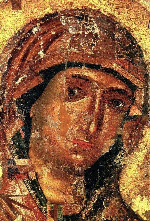 Смоленская икона Божией Матери. Фрагмент.
