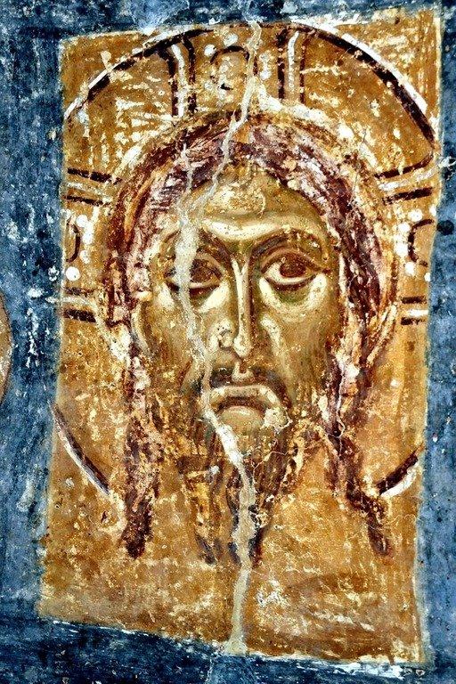 Спас Нерукотворный. Фреска Спасо-Преображенской церкви в Полоцке. XII век.