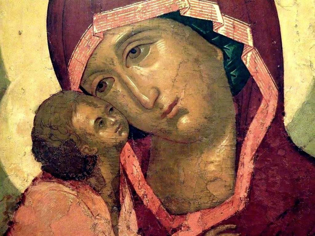 Донская икона Божией Матери. Иконописец Симон Ушаков. 1668 год. Фрагмент.