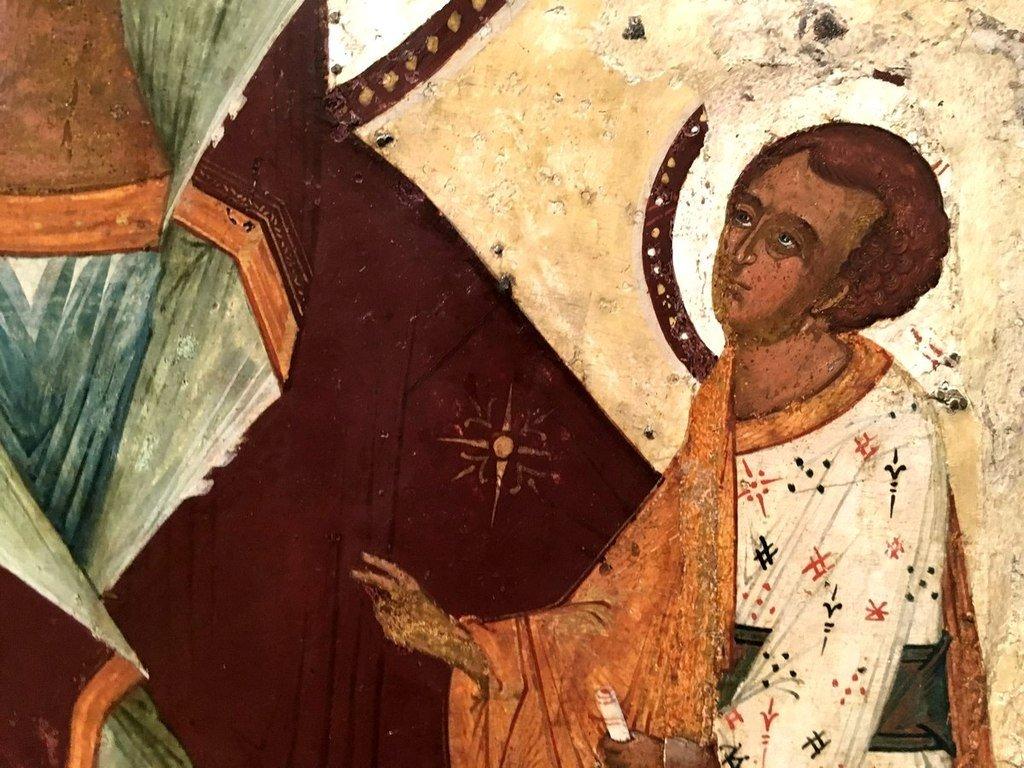 Грузинская икона Божией Матери. Новгород, XVI век. Фрагмент.