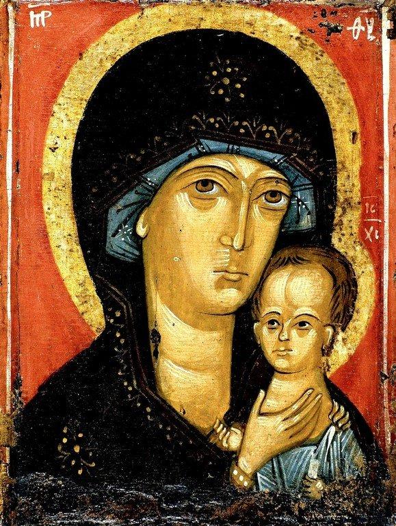Петровская икона Божией Матери. Список XIV века.